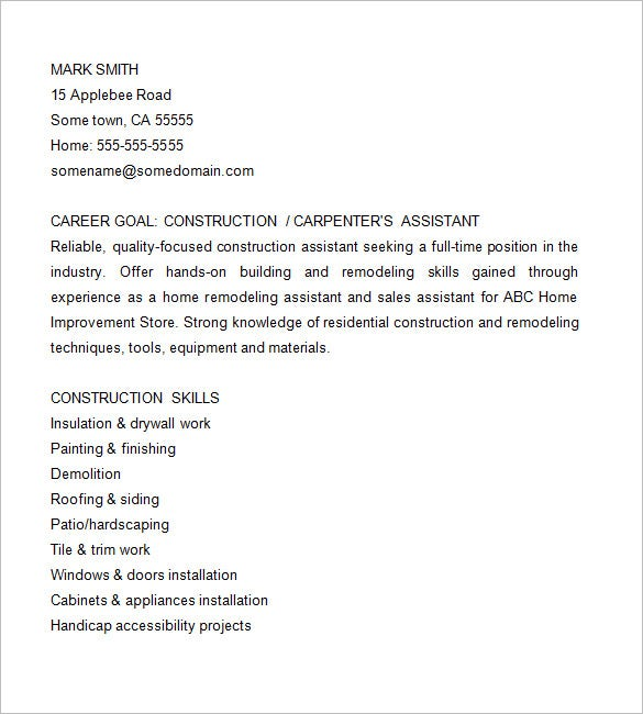 carpenters assistant resume
