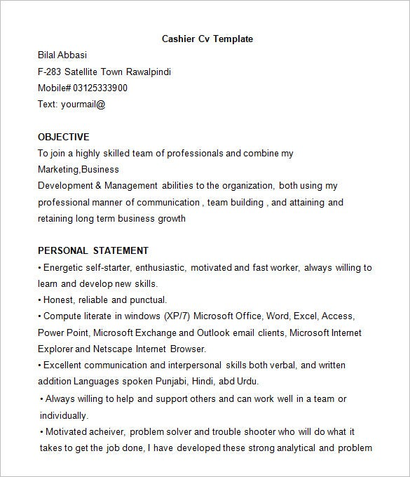 cashier resume template free samples examples format - Sample Resume For A Cashier At Grocery Store