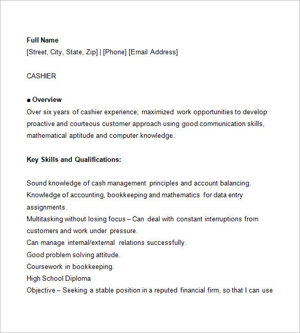 Resume For Cashier Job Example  Template