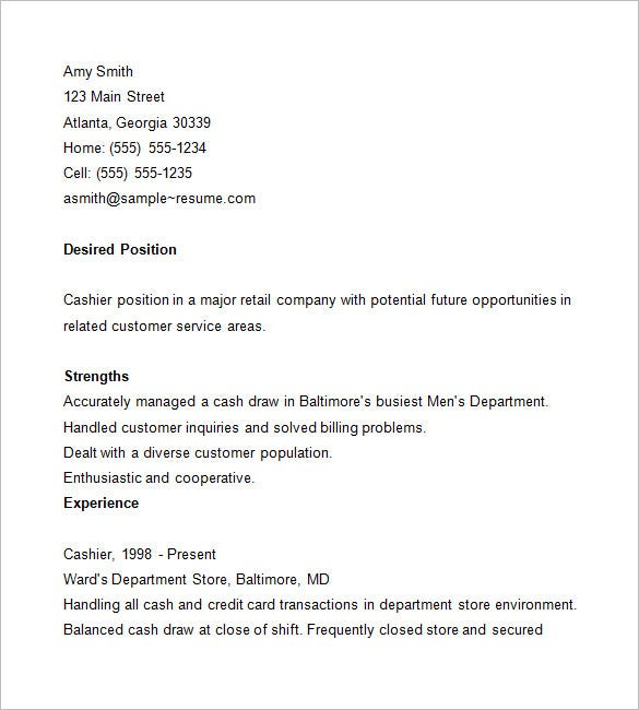 cashier sample resume - Example Resume For Cashier