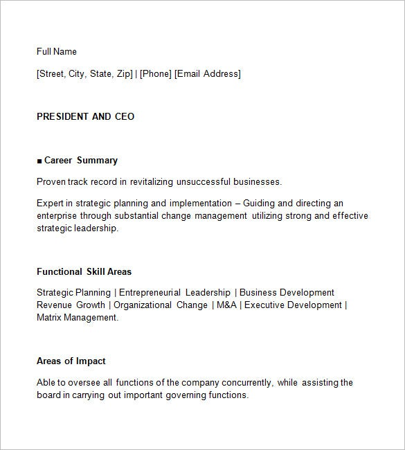 Ceo Resume Template   Free Samples Examples Format Download