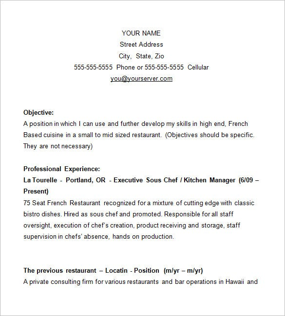 Sample Chef Resumes  Sample Resume And Free Resume Templates