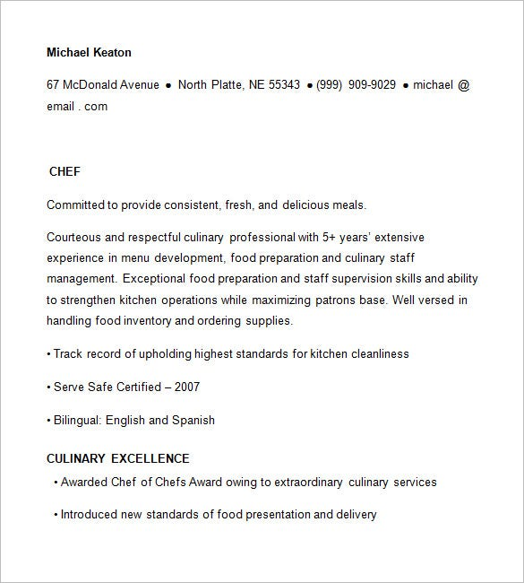 Chef Resume Templates   Free Samples Examples Psd Format