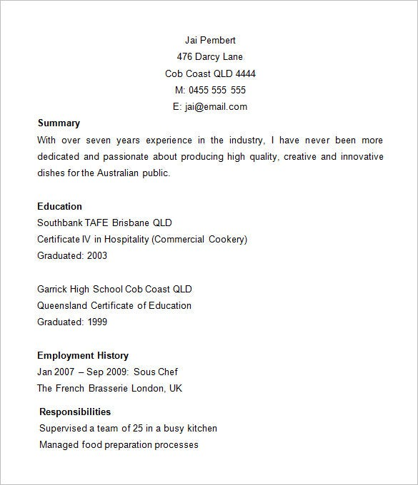 Chef Resume Templates Microsoft Word