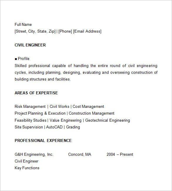 Resume Template   Example Sample For Civil Engineer In Curriculum