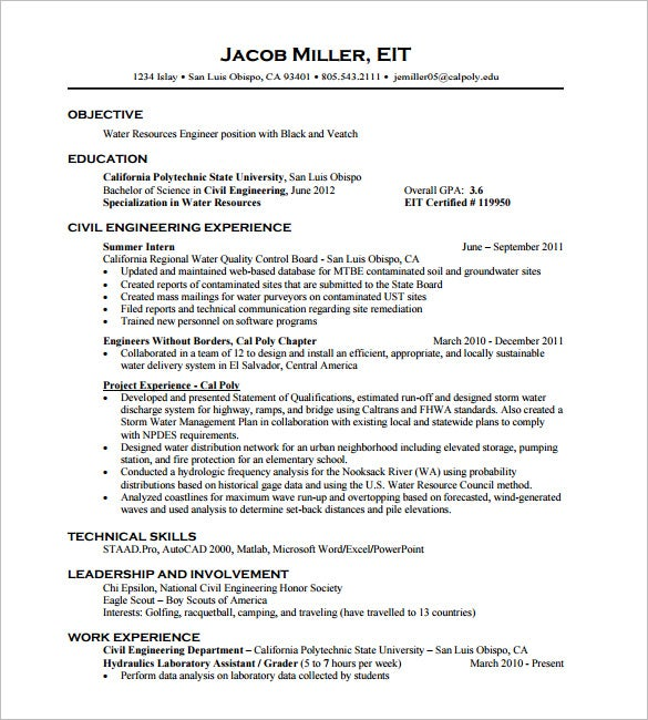 Civil Engineer Resume Free Download  Resume Civil Engineer