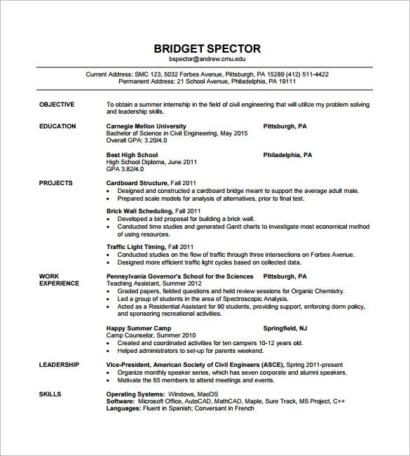 Superbe Civil Engineer Resume Sample