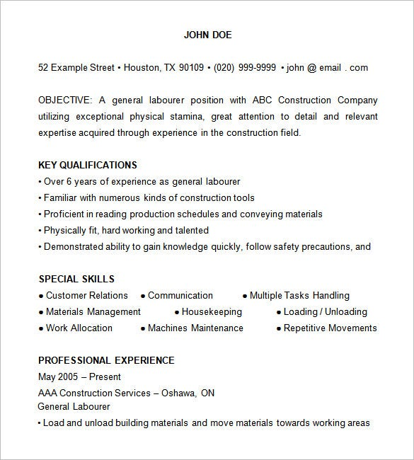 Construction Laborer Resume  Construction Resume Sample