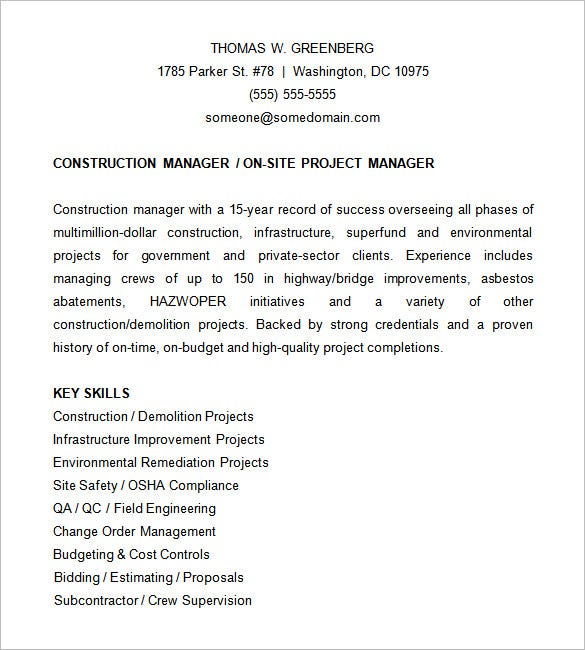 Construction Project Manager Resume  Sample Project Management Resume