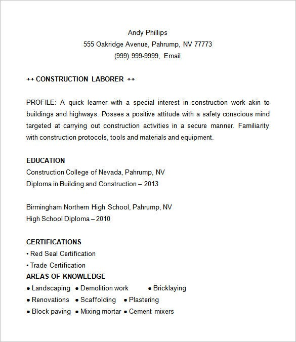 Construction Resume Example  Construction Resume