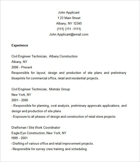 Construction Resume Template – 9+ Free Samples, Examples, Format