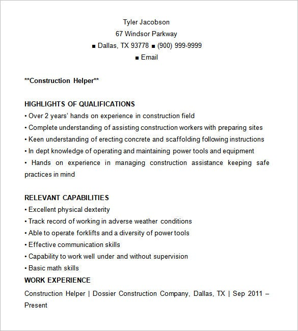 Construction Resume Template  Resume Template Examples