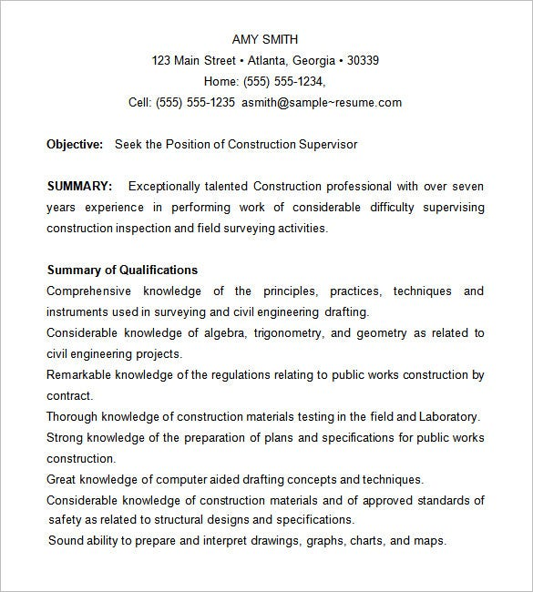 construction supervisor resume - Sample Work Resume