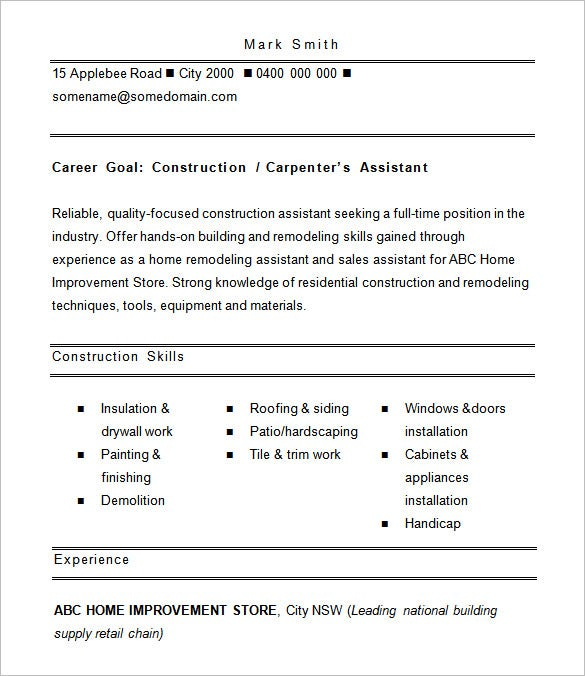 construction resume template 9 free samples examples format - Sample Resume Construction Worker