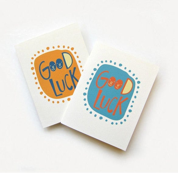 Cute Good Luck Card  Good Luck Card Template