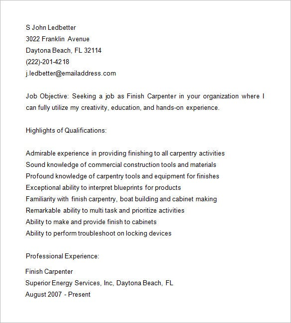 finish carpenter resume samples - Carpenter Resume Objective