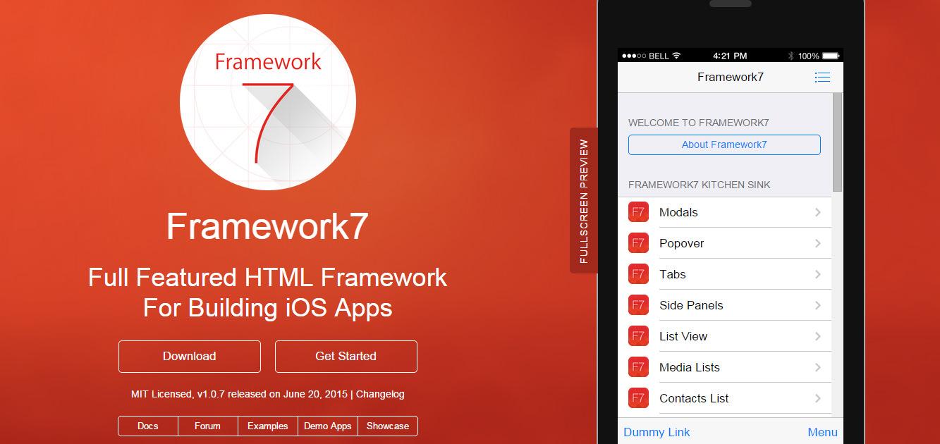 framework 7 HTML5 Tools