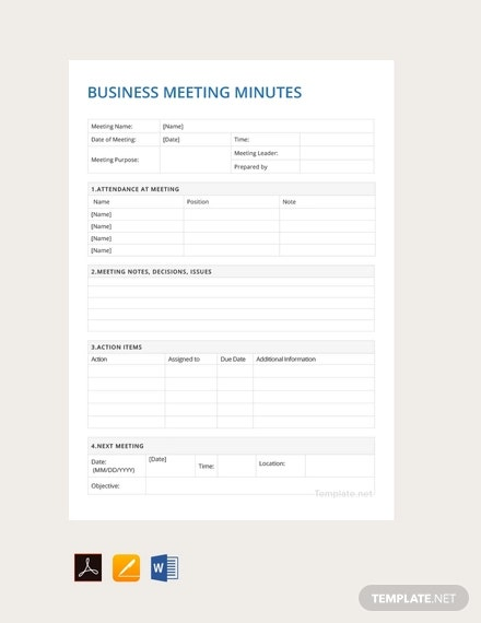 free sample business meeting