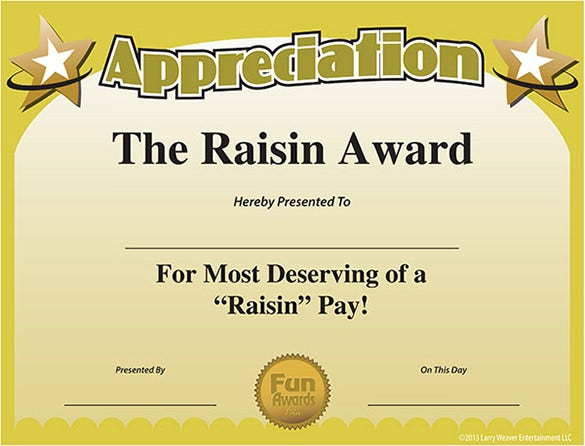 10 funny certificate templates free word pdf documents for Funny certificates for employees templates
