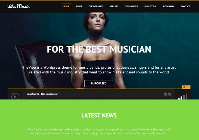 ibemusic musicians deejays singers bands wordpress theme 788x557