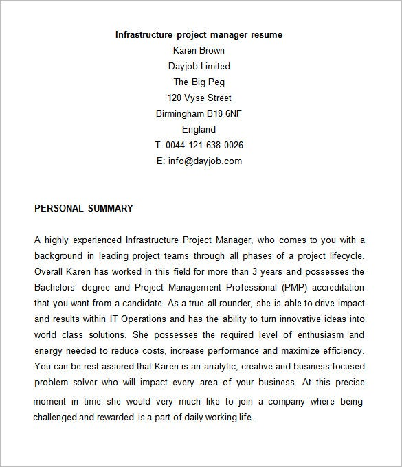 infrastructure project manager resume - Resume Template For Project Manager