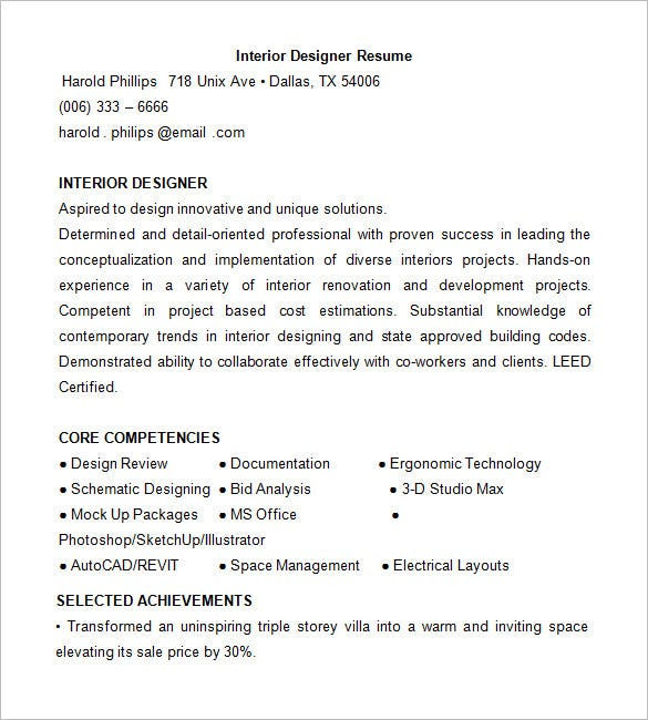 Interior Designer Resume Template. Free Download