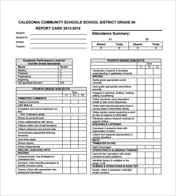 Progress Report Card Template  Free Printable Word Pdf Psd