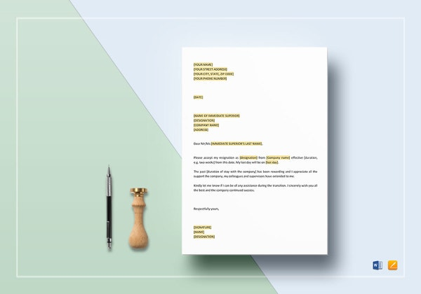 letter of resignation template in apple pages word format