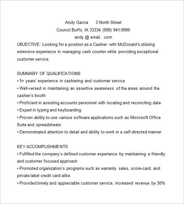 Mcdonalds Cashier Resume  Cashier Customer Service Resume
