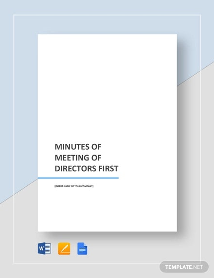 minutes of meeting of directors