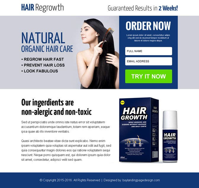 natural hair growth product selling lead generation ppv landing page 012