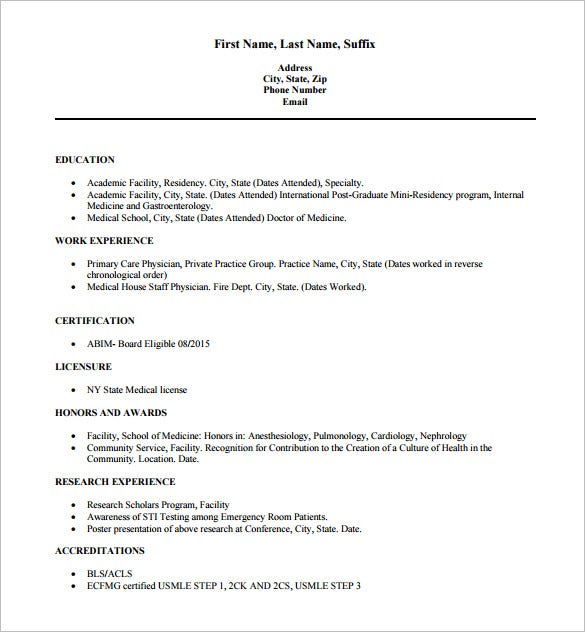 doctor resume templates  u2013 15  free samples  examples  format download