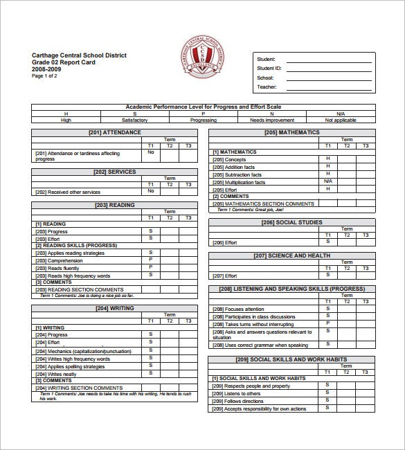 progress report card sample