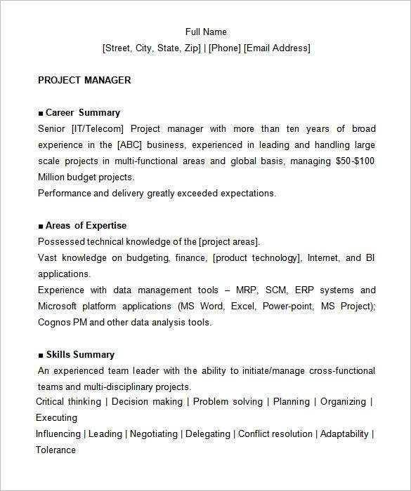 project manager resume template 6 free samples