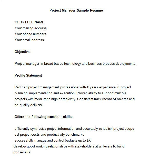 Project Manager Resumes Examples | Resume Format Download Pdf