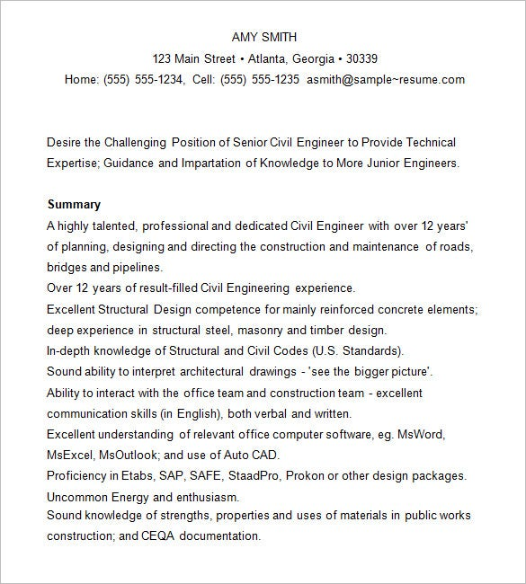 resume for civil engineer