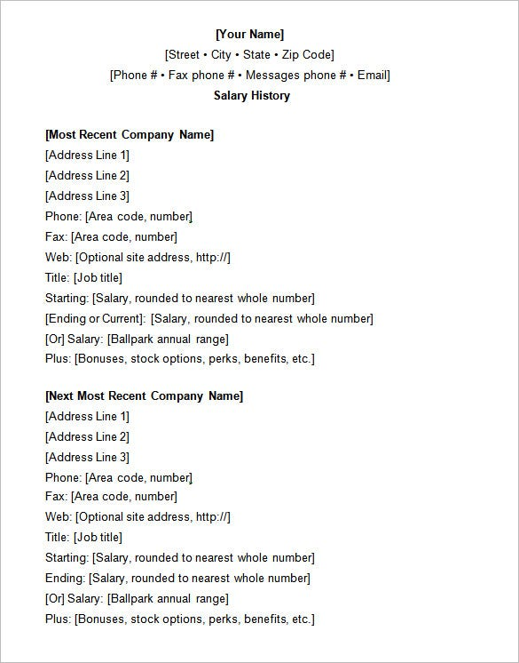 resume-with-salary-history-sample Salary History Format Resume on how put my, where do you put, where put desired, how write expected, history template, how attach expected, what type for, templates that include, hours included,