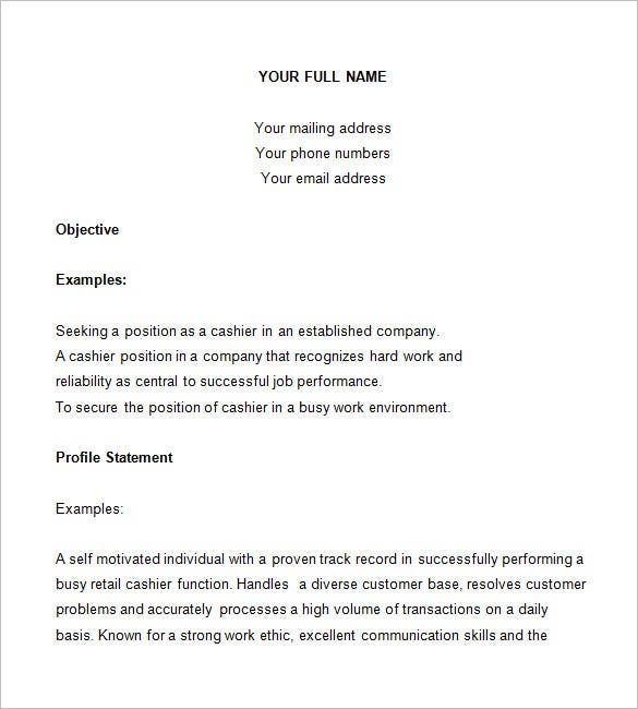 Sample Cashier Resume