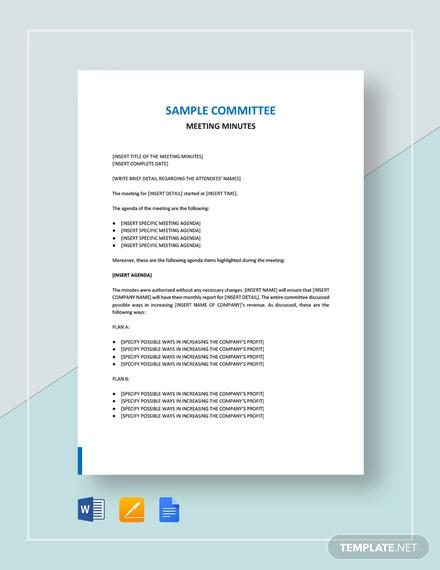 sample commitee meeting