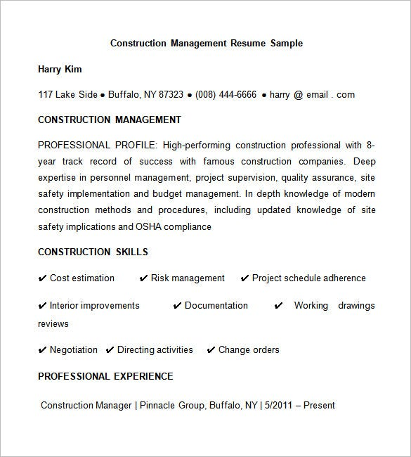 Sample Construction Management Resume  Construction Resume