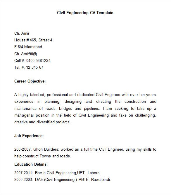 16+ Civil Engineer Resume Templates - PDF, DOC | Free & Premium ...