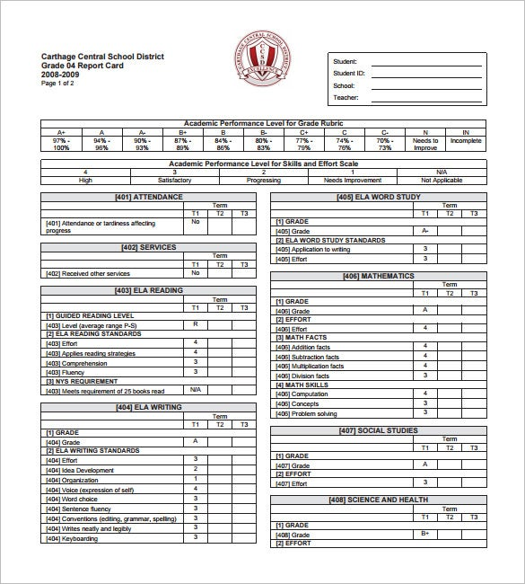 Progress Report Card Templates  Free Printable Word Pdf Psd