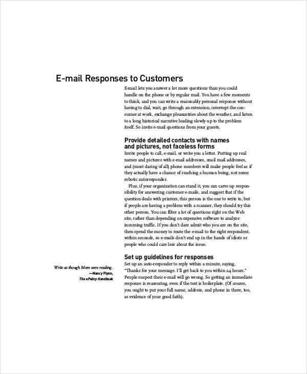 e mail responses to customers