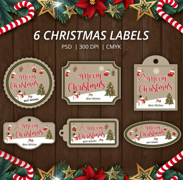 6 Vintage Christmas Labels Template PSD Download