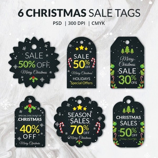 Pack of 6 Christmas Sale Tag Templates with Discount