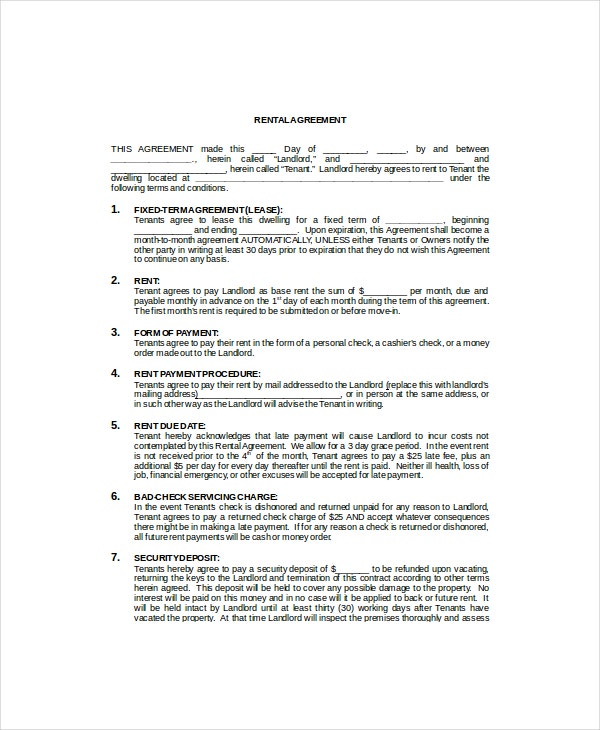 Commercial Rental Lease Template