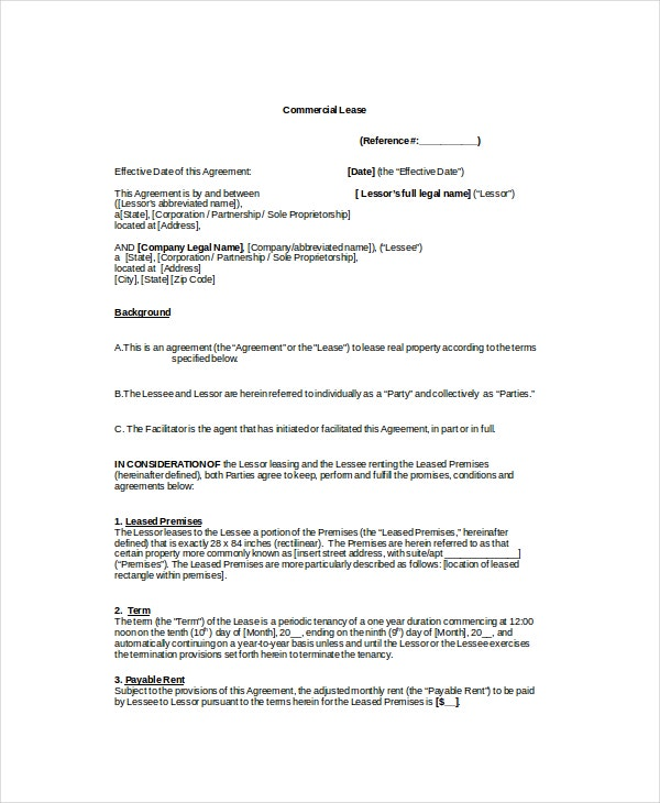 Commercial Lease Template   Free Word Pdf Documents Download