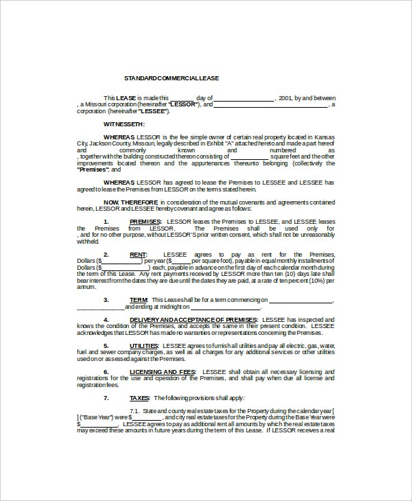 standard commercial lease template