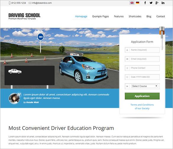 driving school business wordpress theme1