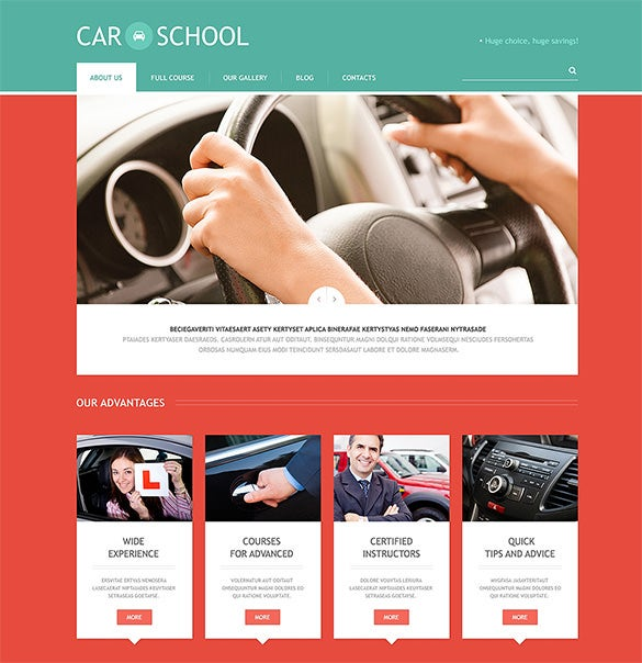 responsive driving school wordpress template